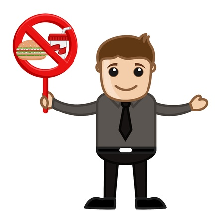 No Junk Food Allowed - Cartoon Business Vector Character Vector