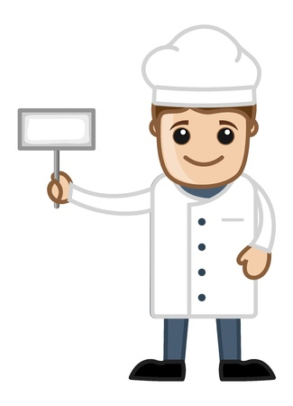 Chef with White Banner - Cartoon Business Vector Character Vector