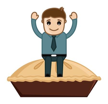 pastel de manzana: Hombre en Apple Pie - Cartoon Vector de negocios Car�cter Vectores