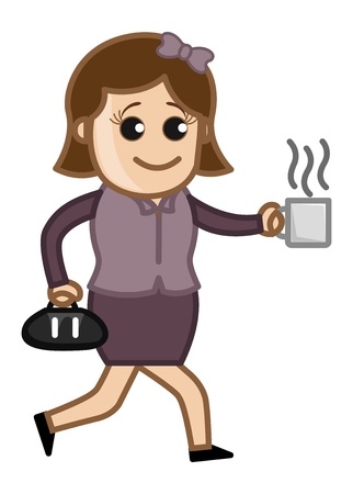 Woman in Hurry with Coffee Cup - Cartoon Business Vector Character Vector