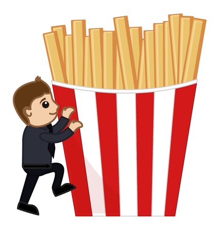 baked potato: French Fries - Cartoon Business Vector Character