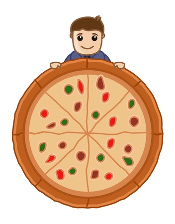 Pizza - Cartoon Business Vector Character Vector