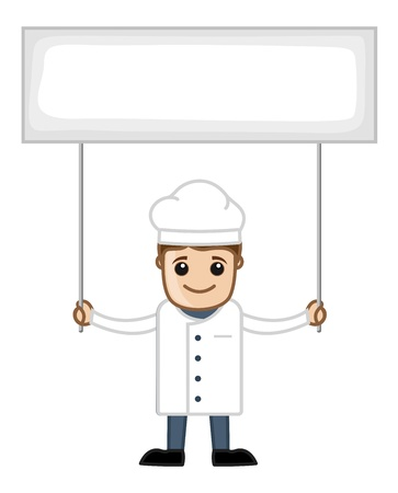 Chef with Banner - Cartoon Business Vector Character Vector