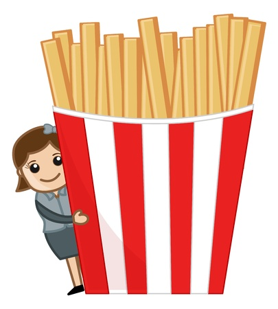 playing the market: Woman with French Fries - Cartoon Business Vector Character