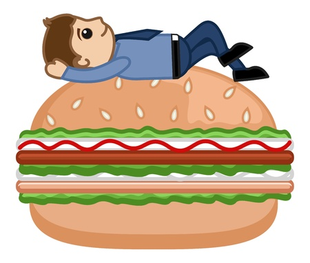 Man on Burger - Cartoon Business Vector Character Vector