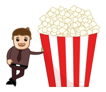 Free Popcorns - Cartoon Business Vector Character Vector