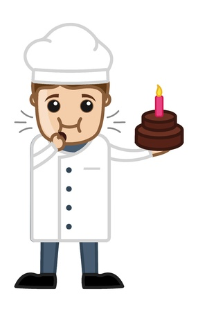 Chef Testing Cake - Cartoon Business Vector Character Vector