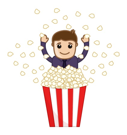 Man with Butter Popcorn - Cartoon Business Vector Character Vector