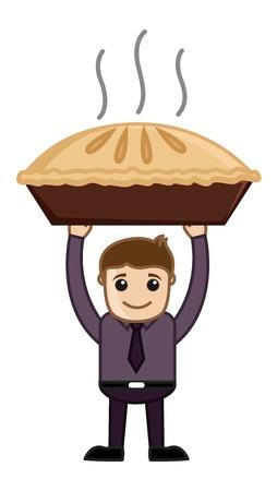 pastel de manzana: Apple Pie - Cartoon Vector de negocios Car�cter