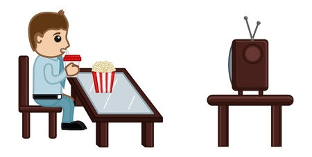 Man Watching TV While Having Cold Drink and Popcorns Food - Cartoon Business Vector Character Vector