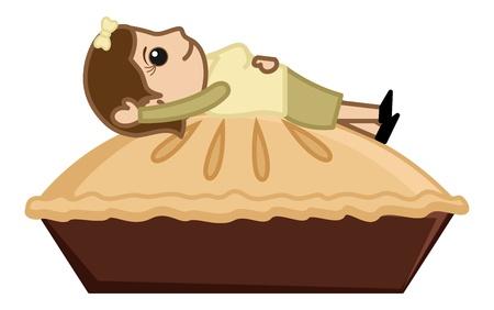 pastel de manzana: Mujer que miente en Apple Pie - Cartoon Vector de negocios Car�cter