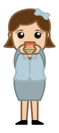 Woman Eating Burger - Cartoon Business Vector Character Vector
