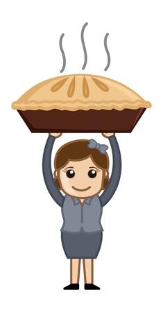 pastel de manzana: Mujer Feliz Preparado Apple Pie - Cartoon Vector de negocios Car�cter Vectores