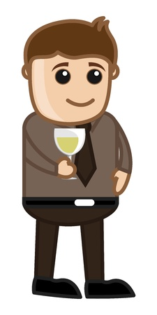 Man Having Wine - Cartoon Business Vector Character Vector