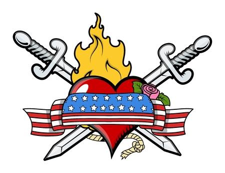 Patriotic Love Tattoo - Vector Illustration Stock Vector - 21233668