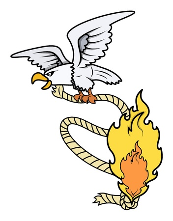 rope vector: Evil Eagle with Burning Rope - Vector Illustration Illustration