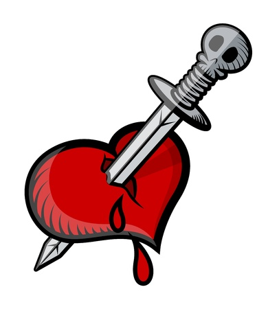 sword and heart: Sword in Heart Tattoo - Vector Illustration