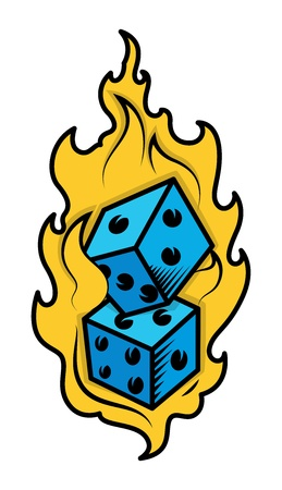Dice in Fire - Casino Lover Tattoo Concept - Vector Illustration Vector
