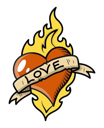 Retro Liefde Tattoo met Hart, Vlam en Uitstekende Banner - Vector Illustratie