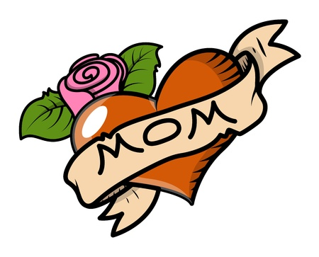 I Love Mom - Retro Tattoo - Vector Illustration
