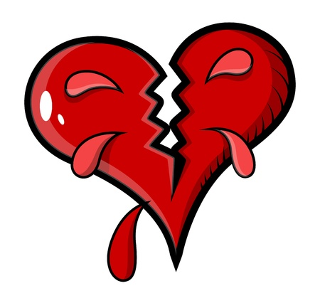 color tribal tattoo: Broken Heart - Vector Illustration Illustration