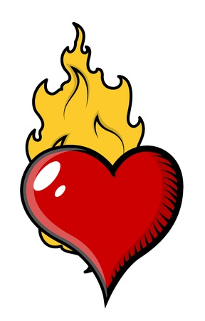 Burning Heart in Flames - Vector Illustration Vector