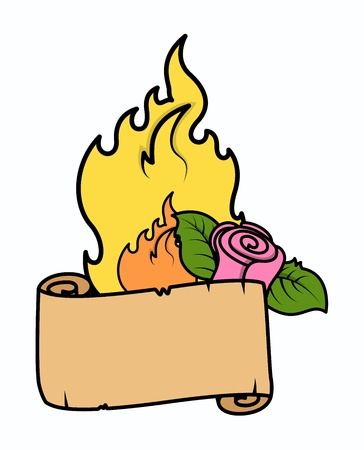 Cartoon Parchment with Flame and Rose - Love Vector Illustration Stock Vector - 21233746
