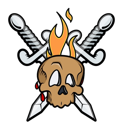 Skull Tattoo with Crossed Swords and Flame - Vector Illustration Vector