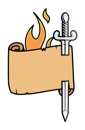 burning paper: Sword in Parchment Scroll - Vector Illustration