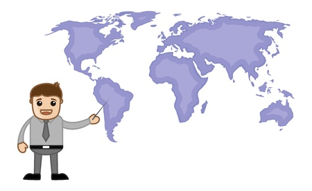 Pointing World Map - Business Office Cartoon Character Vector
