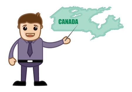 Showing Canada Map - Business Office Cartoon Character Vector