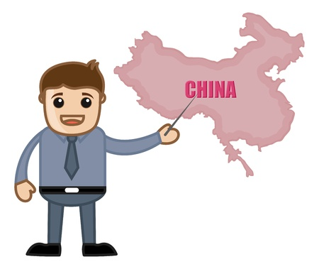 Showing China Map - Business Office Cartoon Character Vector
