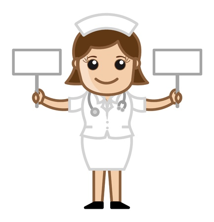 Nurse with Two Blank Banners - Doctor   Medical Character Concept Vector