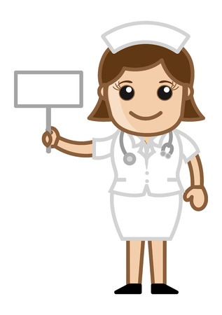 Nurse with Blank Banner - Doctor   Medical Character Concept Vector