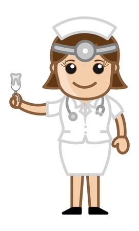 dental assistant: Nurse with Extracted Tooth - Doctor   Medical Character Concept Illustration