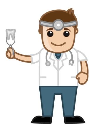 dental assistant: Dentist Showing Tooth - Doctor   Medical Character Concept Illustration