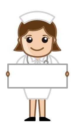 hospital cartoon: Infermiera con banner bianco - Medico carattere concetto Vettoriali