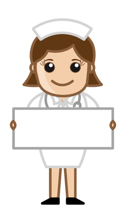 medical assistant: Nurse with Blank Banner - Doctor   Medical Character Concept