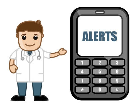 alerts: Subscribe for Alerts on Mobile Phone - Doctor   Medical Character Concept Illustration