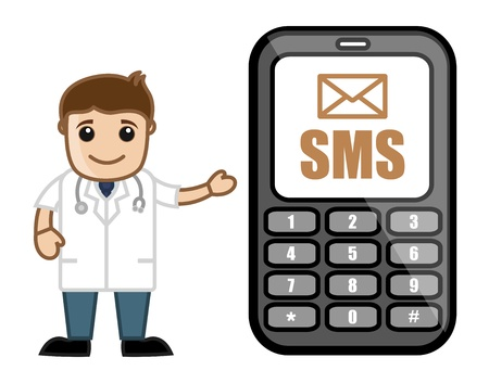 Sms Alert - Doctor   Medical Character Concept Vector