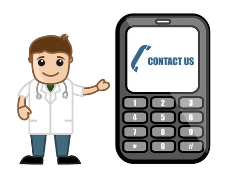 Contact Us - Doctor   Medical Character Concept Stock Vector - 21280691