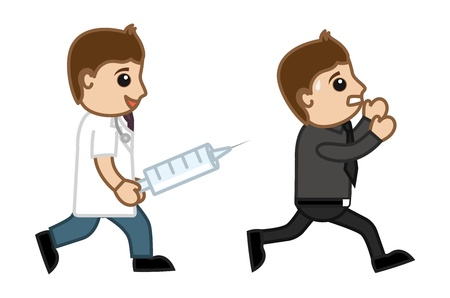 stethoscope boy: Running Away from Syringe Injection - Doctor   Medical Character Concept