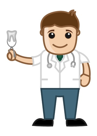 dental assistant: Showing Tooth - Doctor   Medical Character Concept
