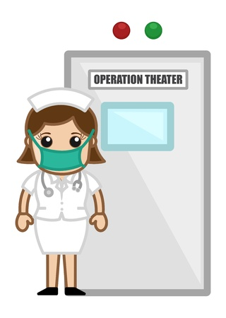 chirurg: Krankenschwester Au�erhalb der OP - Arzt Medical Character Konzept Illustration