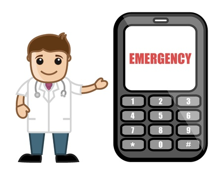 Call on Emergency - Doctor   Medical Character Concept Stock Vector - 21280696