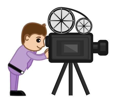 business cartoons: Cine Fotograf�a con c�mara Pel�cula - Dibujos animados de negocios Vectores