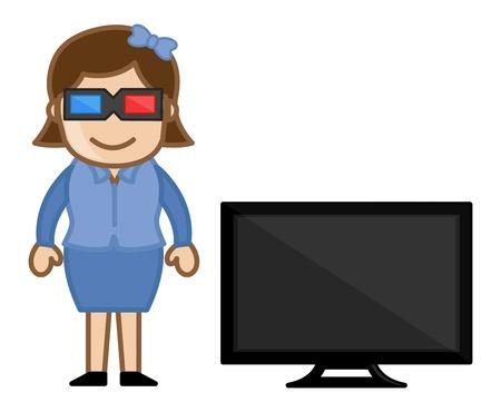 3D TV - Business Cartoons Vectors Stock Vector - 21313979