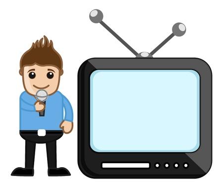 business cartoons: Anchor TV - Concepto Profesi�n - Dibujos animados de negocios Vectores