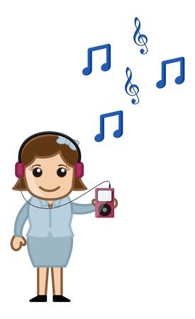 business cartoons: Escuchar m�sica con reproductor de MP3 - Dibujos animados de negocios Vectores