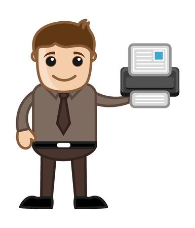 business cartoons: Impresora - Dibujos animados de negocios Vectores